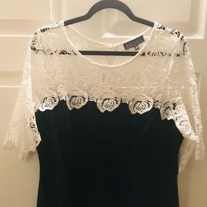 ELOQUII white lace and black peplum top (16)